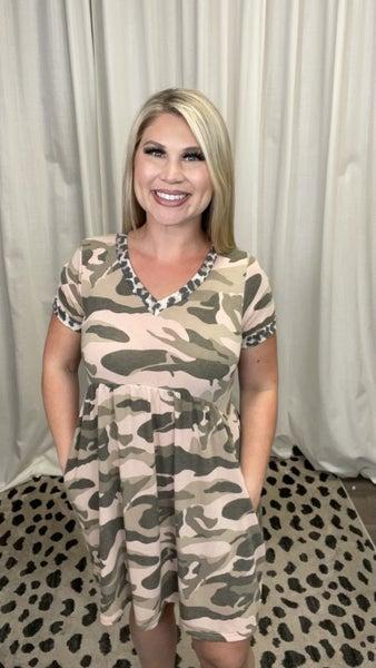 Short Sleeve Camo Dress