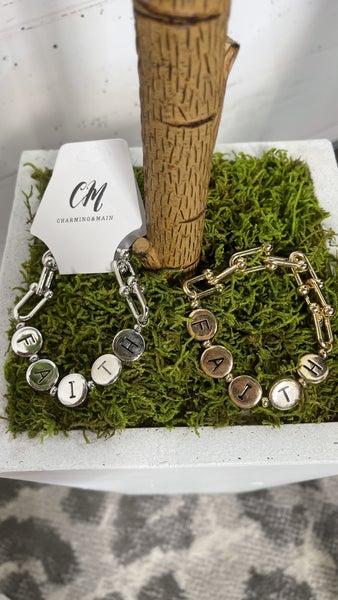 Faith Link Chain Stretch Bracelet Silver/Gold