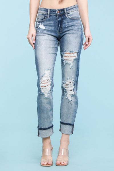 !!Erin's Favorite!! Judy Blue Bleach Splatter Boyfriend Jeans