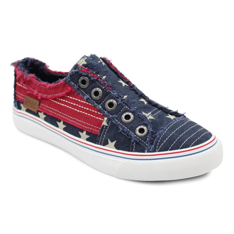 Navy and Red Starred Blowfish Slip On Sneakers