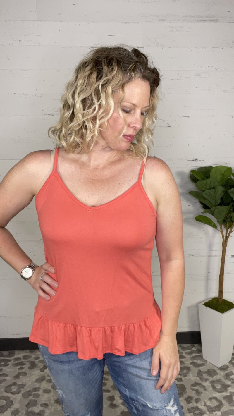 Coral Tank Top with Ruffle Bottom