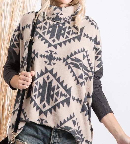 Brushed Cowl Neck Aztec Print Top