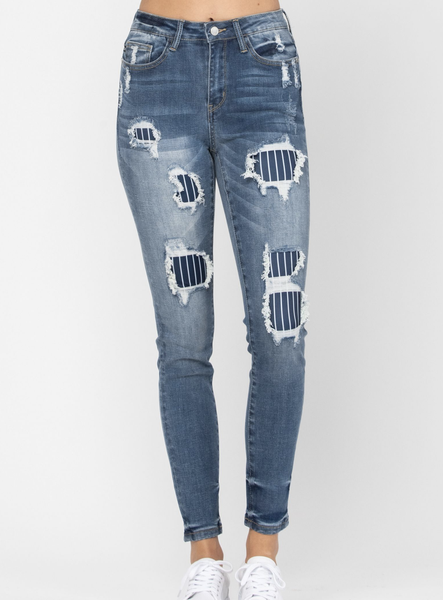 Fashionista Pin Stripe Patch Skinny Judy Blue Jeans