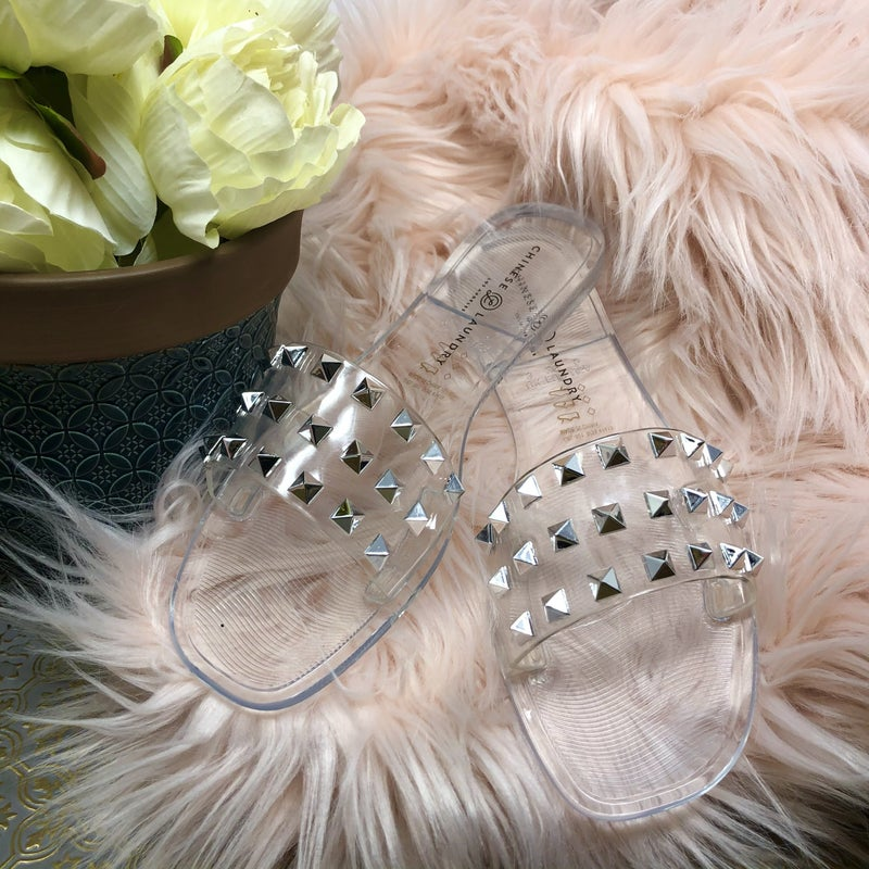 Chinese Laundry Jelly Studded Slide Sandals
