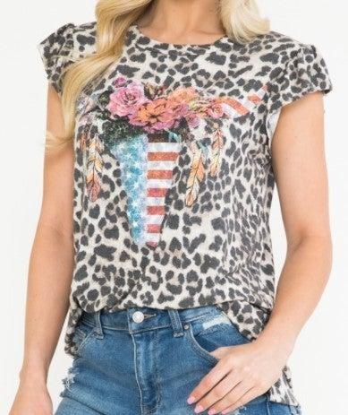 Ruffle Sleeve Leopard Floral Bullhead Top