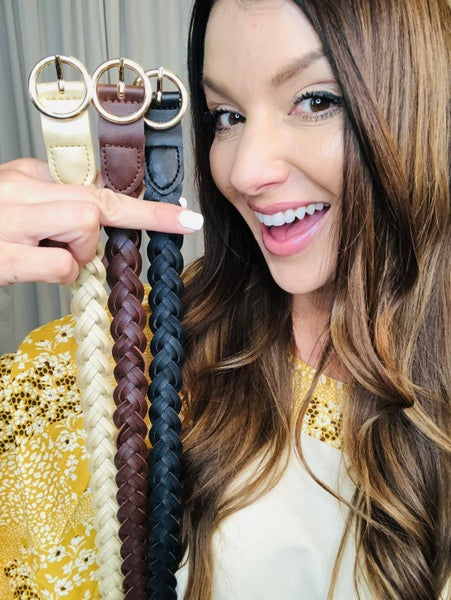 Beautiful Braided Belt with Gold Buckle
