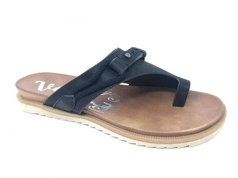 Carina Black Slip on Sandal