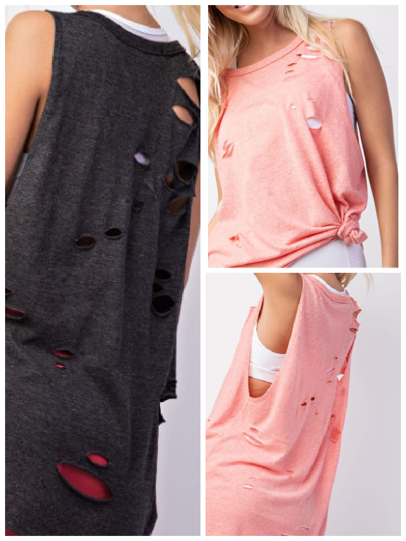 Express Yourself Distressed Sleeveless Knit Top (2 colors)