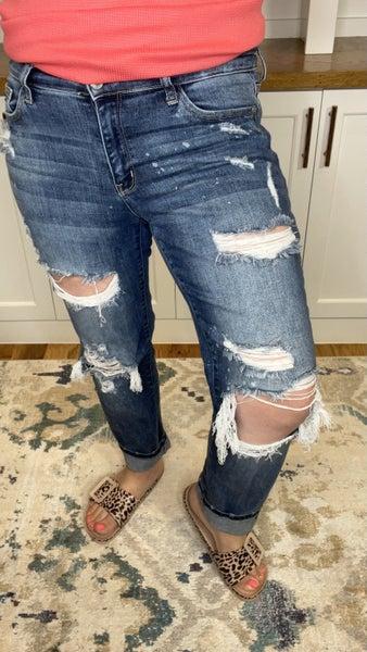 Good Vibrations Bleach Splash Boyfriend Jeans
