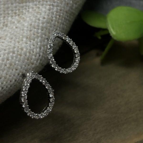 Cubic Zirconia Teardrop Delicate Stud Earrings