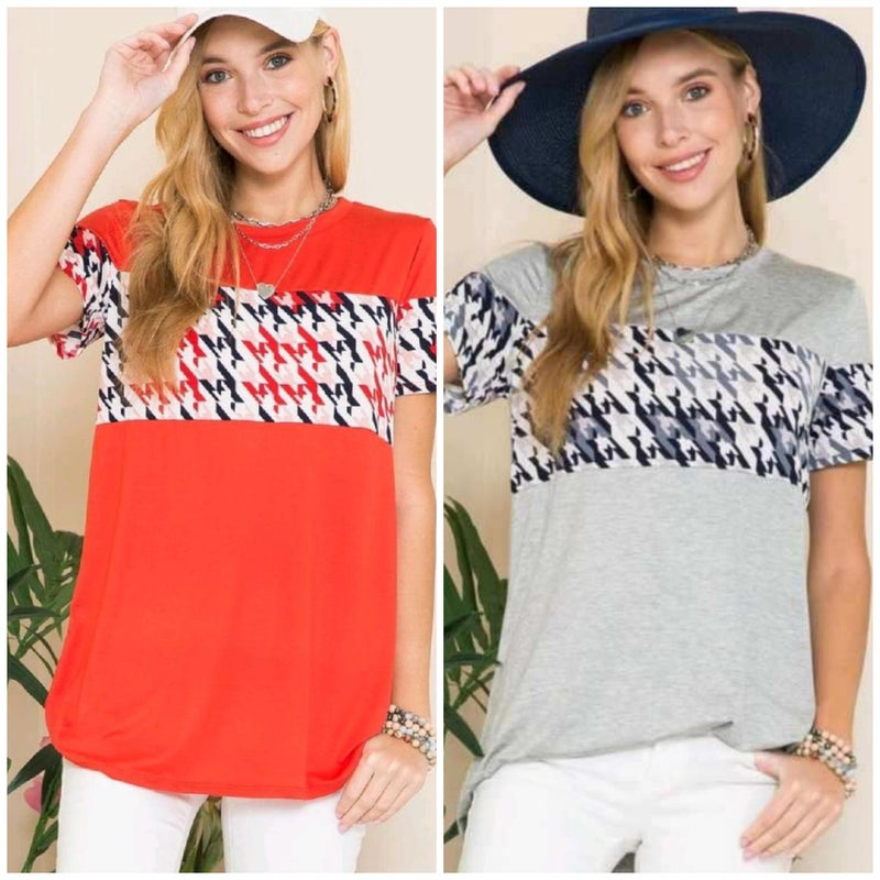 Houndstooth Relaxed Fit Tee