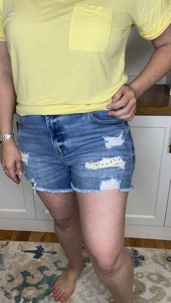 Lemon Patch Judy Blue Destroyed Shorts
