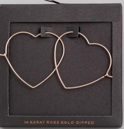 Heart Outline Dangle Earrings