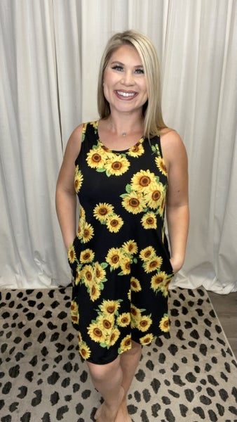 Sleeveless Sunflower Swing Dress