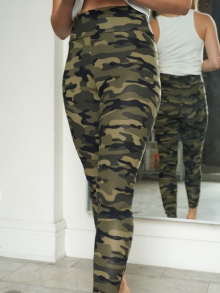 High Waisted Camouflage Knit Leggings
