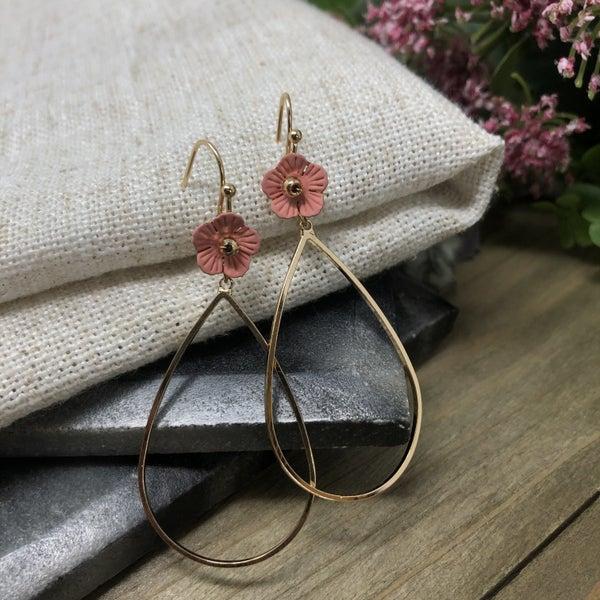 Floral Flower Teardrop Dangle Earrings