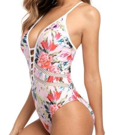 Floral Plunge Strappy Monokini Swimwear S-XL