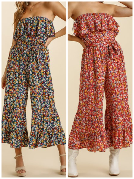 Floral Print Strapless Ruffle Jumpsuit