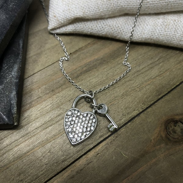Crystal Pave Love Lock Key Pendant Necklace