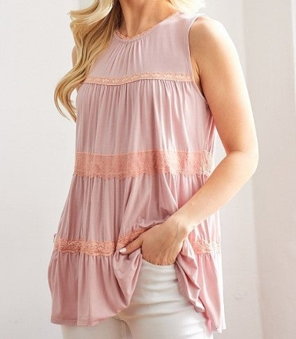 Lace Tiered Ruffle Top