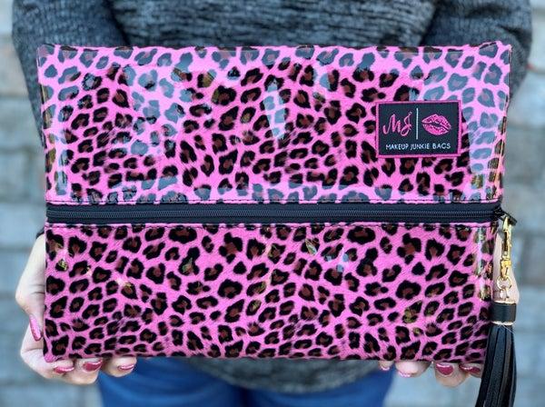 NEW!! Makeup Junkie Patent Cheetah Bag