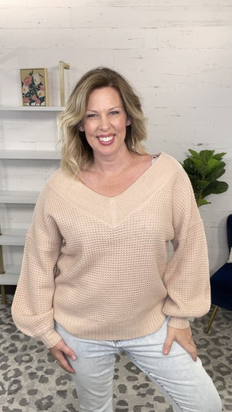 Not Too Serious Balloon Sleeve Waffle Sweater (4 colors)