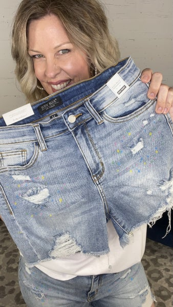 Confetti Upgrade Judy Blue Paint Splash Shorts