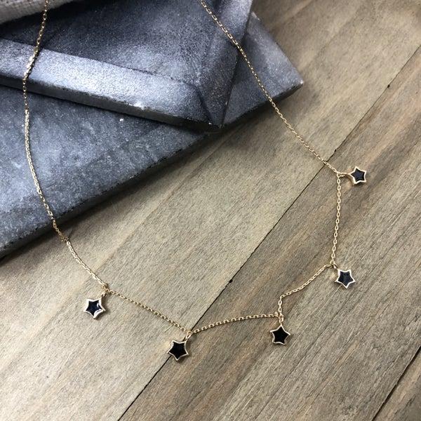 5 Star epoxy Brass Necklace