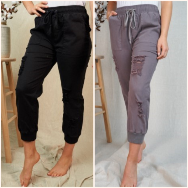 Solid Woven Fitted Jogger