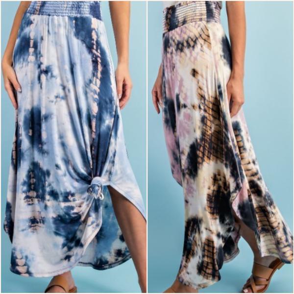 Tie Dye Smoked Maxi Skirt