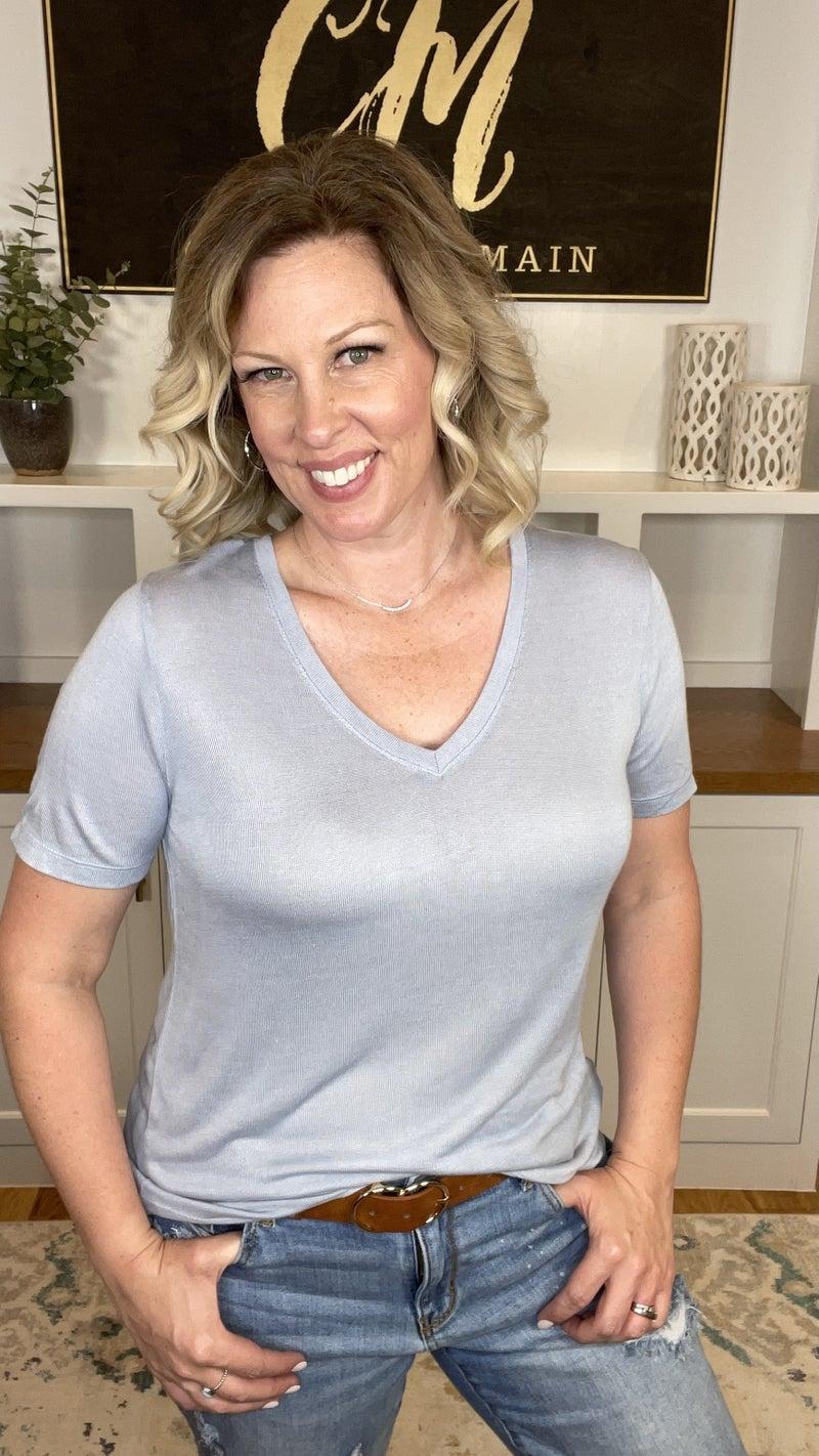 V-Neck Short Sleeve Tee (2 colors)