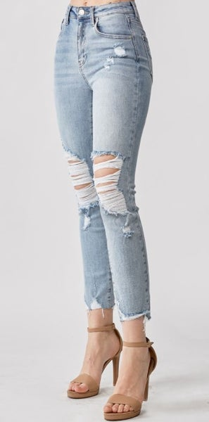 FUPA Hiders RISEN High Rise Distressed Skinny Jeans - Light