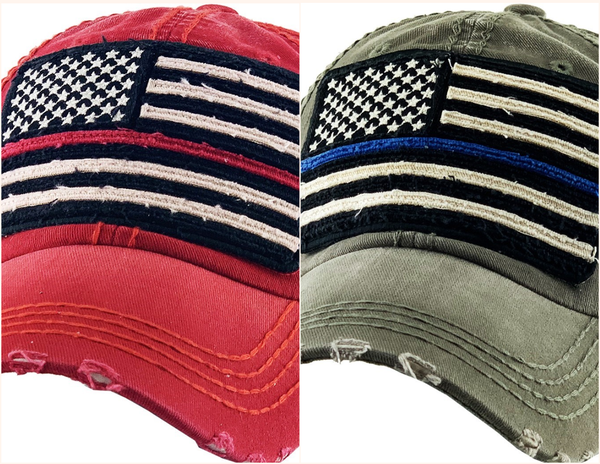 Thin Blue/Red Line Support Flag Vintage Ballcap