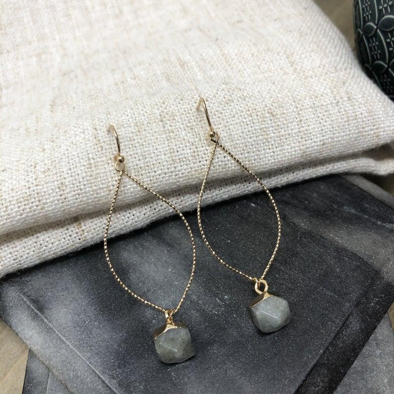 Drop Hoop with Semiprecious Stone