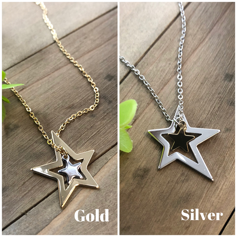 Celestial Stars Two Tone Necklace