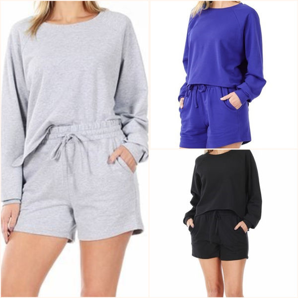 French Terry Over Sized Top & Shorts Set