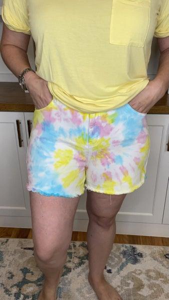 Peace, Love & Swirl Judy Blue Tie Dye Shorts