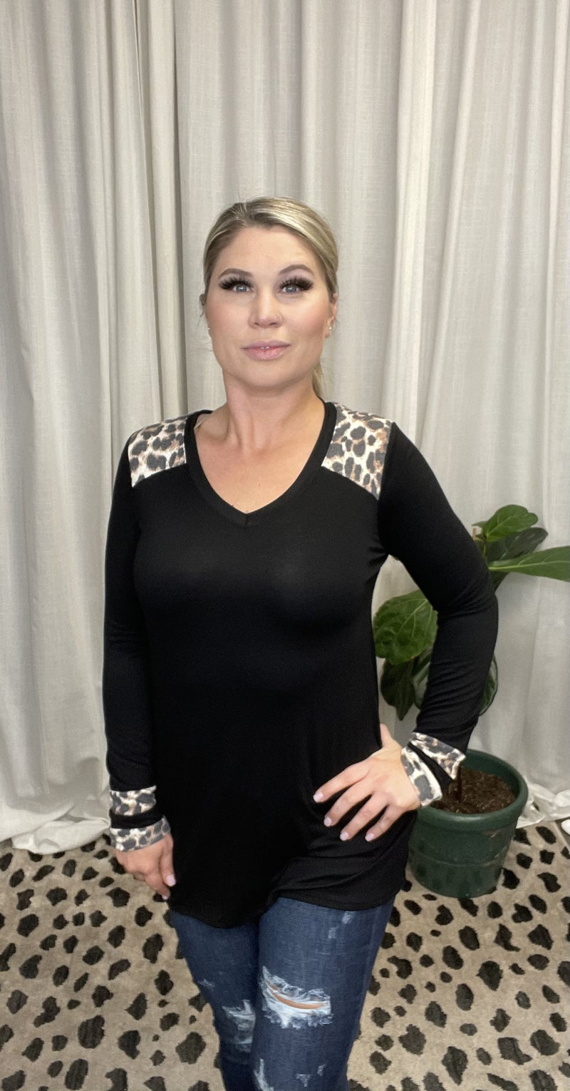 Solid Long Sleeve Tee w/ Leopard Print Accent