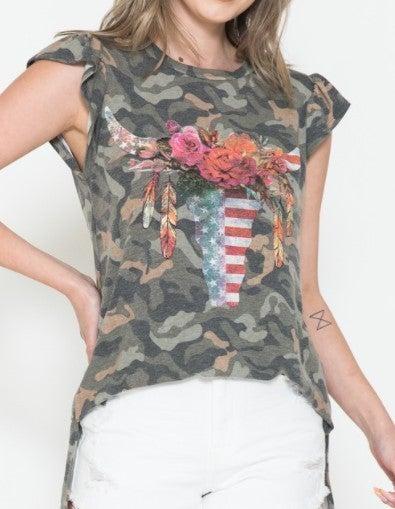 Ruffle Sleeve Camo Floral Bullhead Top
