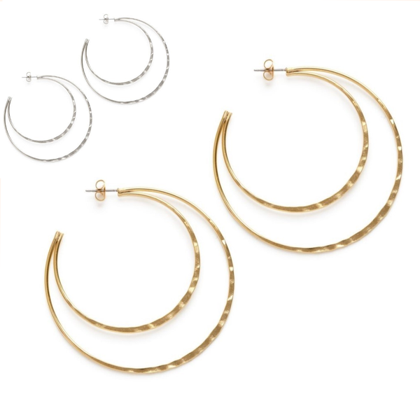 Double Hammered Hoop Studs in Silver or Gold