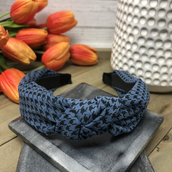 Houndstooth Headband with a Top Knot