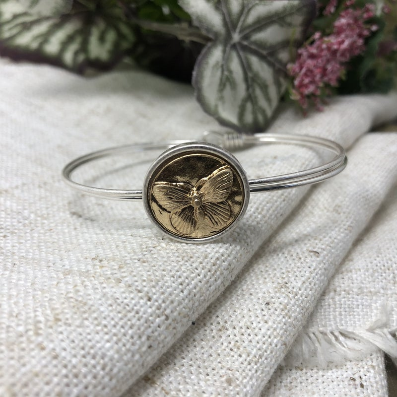 Double Wire Cuff with Two Tone Butterfly Coin