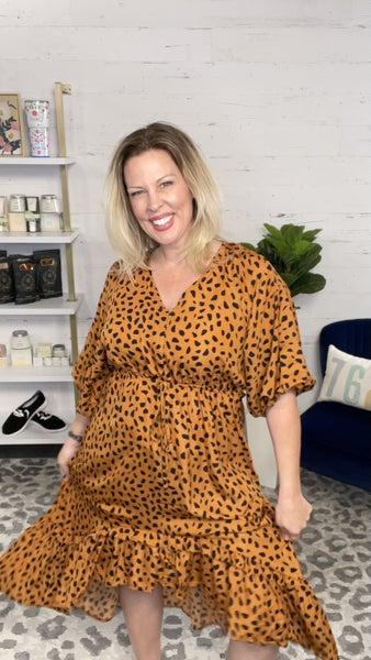 Dalmatian Ruffle Midi Dress