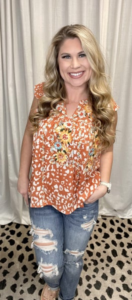 Leopard Print Top with Embroidery