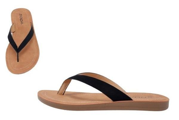 Ella Nubuck Flip Flop Sandal - Black