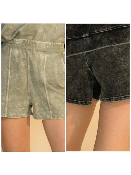 Acid Washed Seam Front Shorts