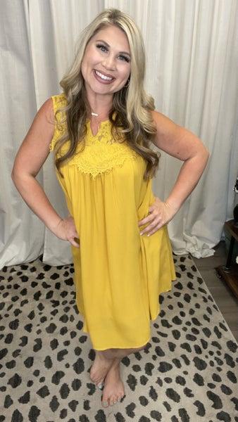 Lace Inset Dress Yellow