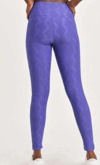 Set - Textured Sectional Ribbed Jacquard TACTEL Leggings & Sports Bra