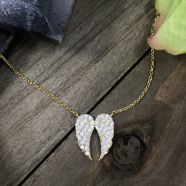 Angel Wings CZ Necklace