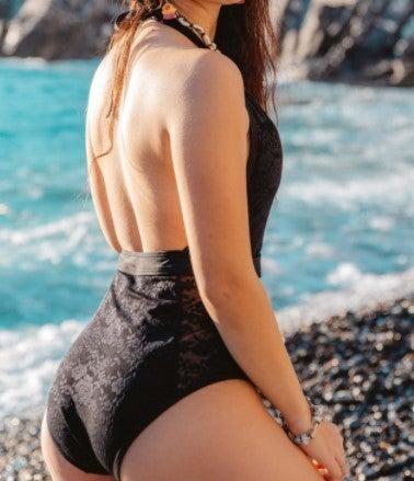 Halter One Piece Mesh Monokini Swimwear S-XL